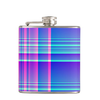 Pink and Blue Plaid Checkered Hip Flask