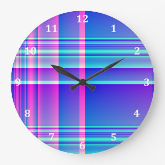 Pink and Blue Plaid Checkered Large Clock