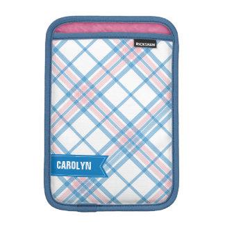 Pink and Blue Plaid Monogram iPad Mini Sleeve