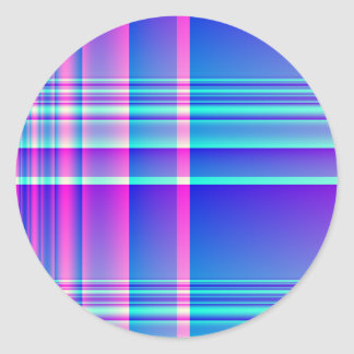 Pink and Blue Plaid Round Sticker