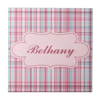 Pink and Blue Plaid with Label Tiles