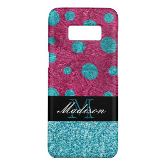 Pink and Blue Polka Dot Glitter Monogram Trendy Case-Mate Samsung Galaxy S8 Case