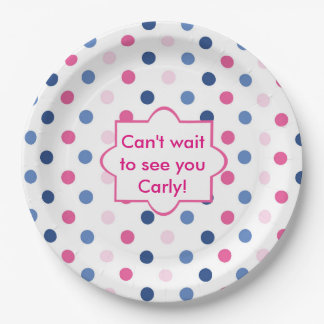 Pink and Blue Polka Dots Baby Shower Paper Plate