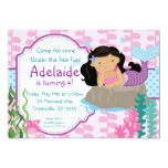 Pink and Blue Polka Dots Brunette Mermaid Birthday 13 Cm X 18 Cm Invitation Card