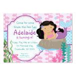Pink and Blue Polka Dots Brunette Mermaid Birthday 13 Cm X 18 Cm Invitation Card