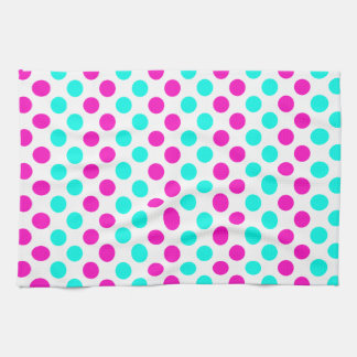 Pink and Blue Polka Dots Tea Towel