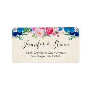 Flower borders labels zazzle pink and blue pretty flower border label mightylinksfo