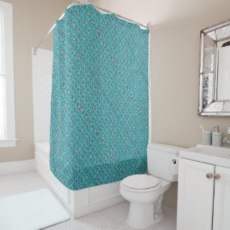 Pink And Blue Retro Paisley Pattern Shower Curtain