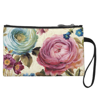 Pink and Blue Rose Wristlet