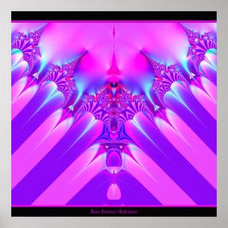 Pink and Blue Satin Fractal Print