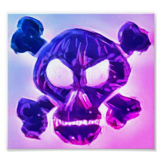 Pink and Blue Skull and Crossbones Poster