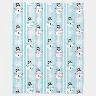 Pink and Blue Snowmen and Snowflakes Blanket