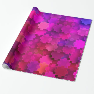 Pink and Blue Square Puzzle Pieces Pattern Wrapping Paper