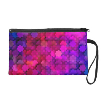 Pink and Blue Square Puzzle Pieces Pattern Wristlet Purses
