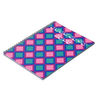 pink and blue squares or diamonds spiral notebook