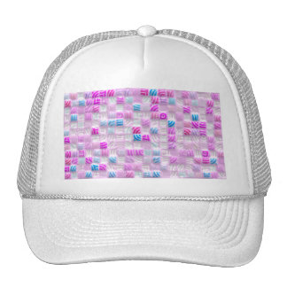 pink and blue squares pattern cap