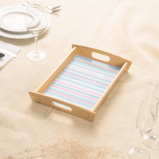 Pink and Blue Striped Kitchen Food Serving Tray