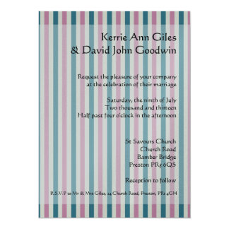 Pink and Blue Striped Wedding Invitations