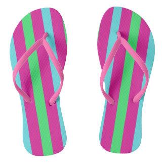 Pink and blue stripes flip flops