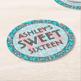 Pink And Blue Sweet 16 Birthday Party  Coasters Round Paper Coaster