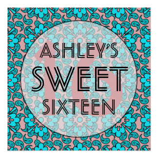 Pink And Blue Sweet 16 Birthday Party Wall Decor Poster