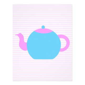 Pink and Blue Teapot Picture. Personalized Flyer