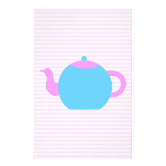 Pink and Blue Teapot Picture Personalized Flyer