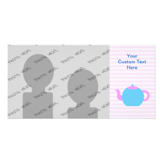Pink and Blue Teapot Picture. Photo Card