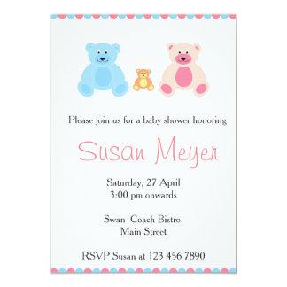 Pink And Blue Teddy Bear Family Baby Card 13 Cm X 18 Cm Invitation Card