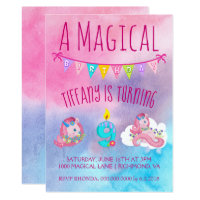 Happy 9th birthday cards invitations zazzle pink and blue unicorn 9th birthday party bookmarktalkfo Images