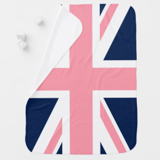 Pink and Blue Union Jack Flag Baby Blanket