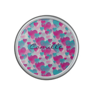 pink and blue valetines hearts with name bluetooth speaker