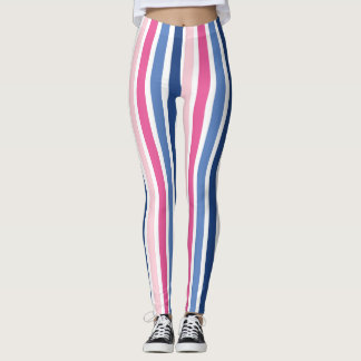Pink and Blue Vertical Stripes Leggings