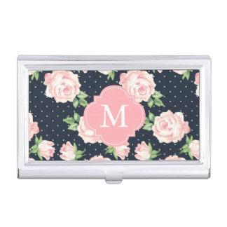 Pink and Blue Vintage Roses Pattern Monogrammed Business Card Holder