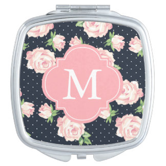 Pink and Blue Vintage Roses Pattern Monogrammed Mirror For Makeup