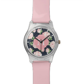 Pink and Blue Vintage Roses Pattern Monogrammed Wrist Watch