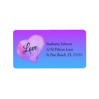 Pink and Blue Watercolor Heart Love Address Label