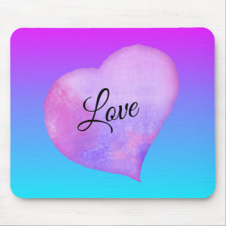 Pink and Blue Watercolor Heart Love Mouse Mat