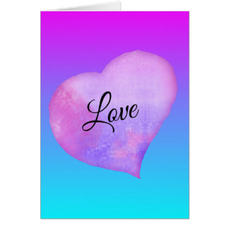Pink and Blue Watercolor Heart Valentine's Day Card