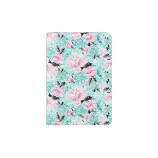 Pink and Blue Watercolour Flowers Passport Holder