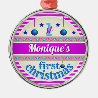 Pink and Blue / Your Baby's 1st First Christmas Christmas Ornament