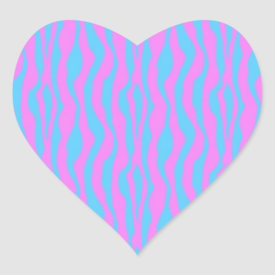 Pink and Blue Zebra Stripes Heart Sticker