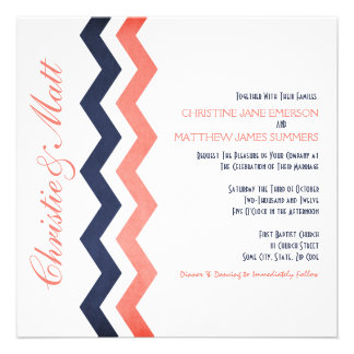 Pink and Blue Zig Zag Wedding Invitations