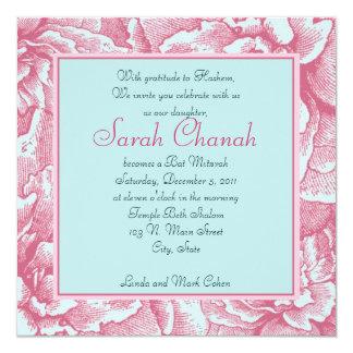 Pink and BlueFlower Invitation