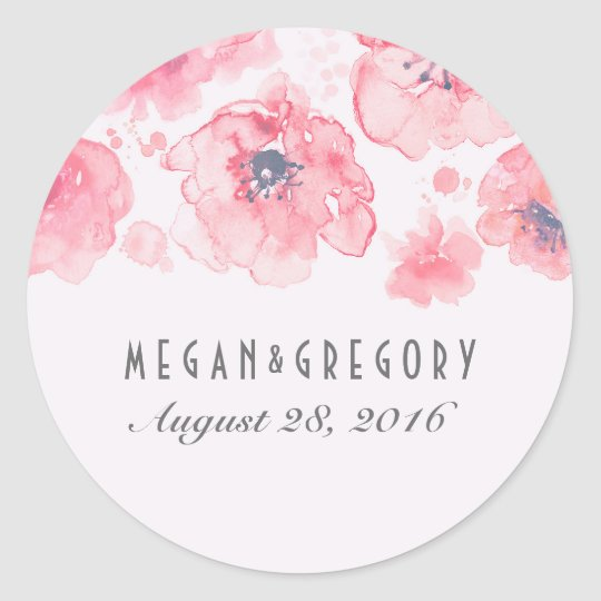 Pink and Blush Watercolor Flowers Wedding Classic Round