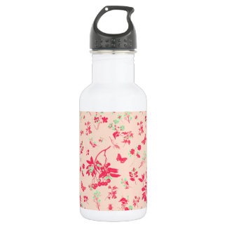 Pink and Bright Green Floral Print 532 Ml Water Bottle