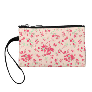 Pink and Bright Green Floral Print Coin Purse