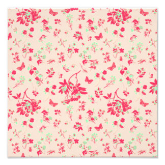 Pink and Bright Green Floral Print Photographic Print
