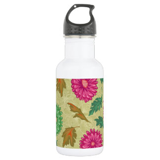 Pink and Bright Teal Vintage Floral 532 Ml Water Bottle