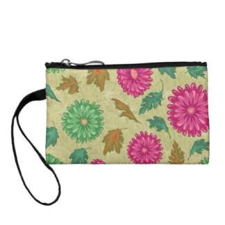 Pink and Bright Teal Vintage Floral Coin Purse